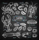 Seafood chalk sketch