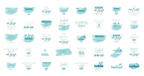 ilustrações de stock, clip art, desenhos animados e ícones de seafood clip art hand drawn doodle illustration - mediterranean food