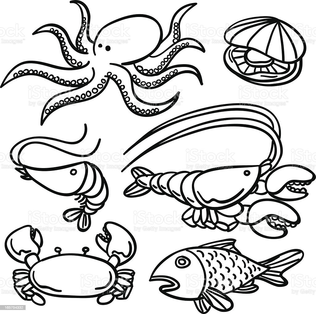 Seafood collection in Black and White royalty-free stock vector art