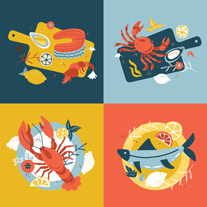 Seafood collection. Set of Hand-drawn isolated concepts. Vector flat cartoon illustrations in scandinavian style. Fish on a wooden cutting board and plate. Oysters, crab salmon and lobster. Top view.