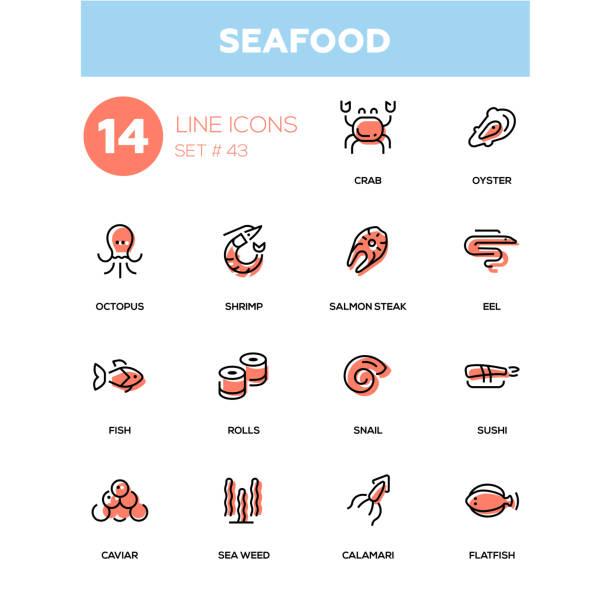 illustrazioni stock, clip art, cartoni animati e icone di tendenza di seafood concept - line design icons set - banchi di pesci