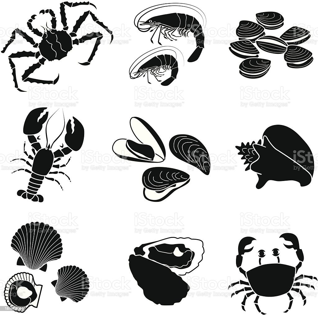 seafood crustaceans and mollusks vector art illustration