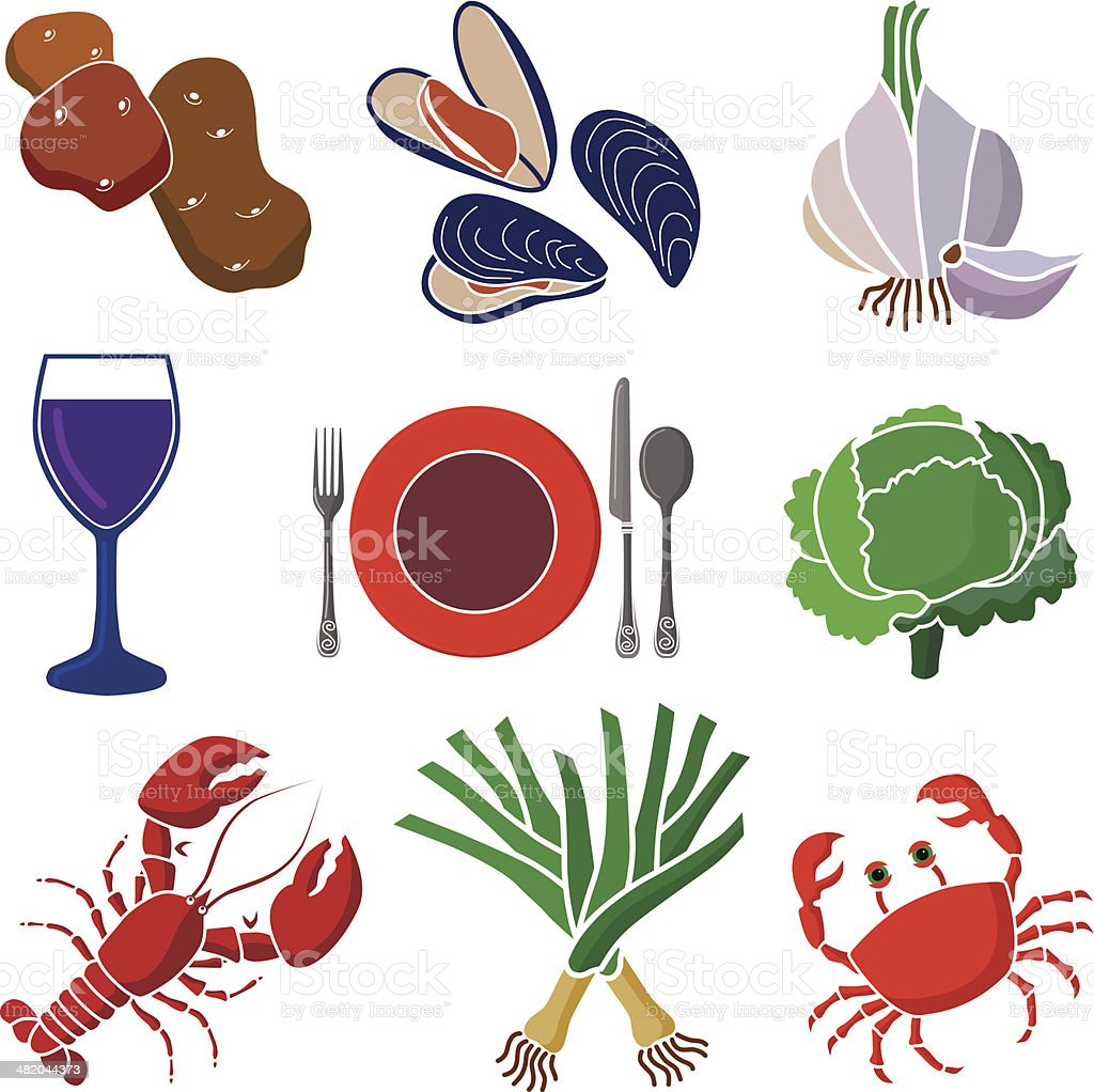 seafood dinner icon set royalty-free stock vector art