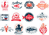 Seafood emblem logo set of twelve isolated logotypes for bars and marine food restaurants with fish images vector illustration