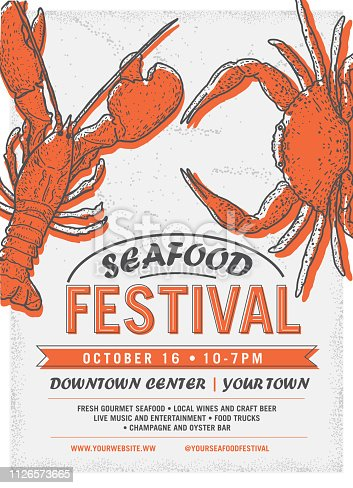 Vector illustration of a Seafood Festival advertisement poster design template. Includes bright colors. Hand drawn crab and lobster. Sample placement text. Easy to edit with layers.