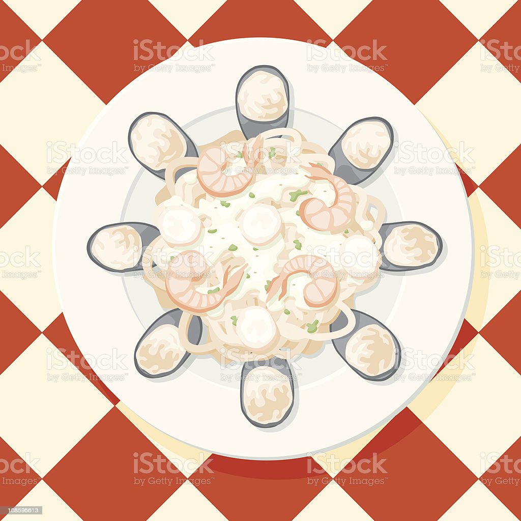 Seafood Fettucini royalty-free seafood fettucini stock vector art & more images of checked pattern