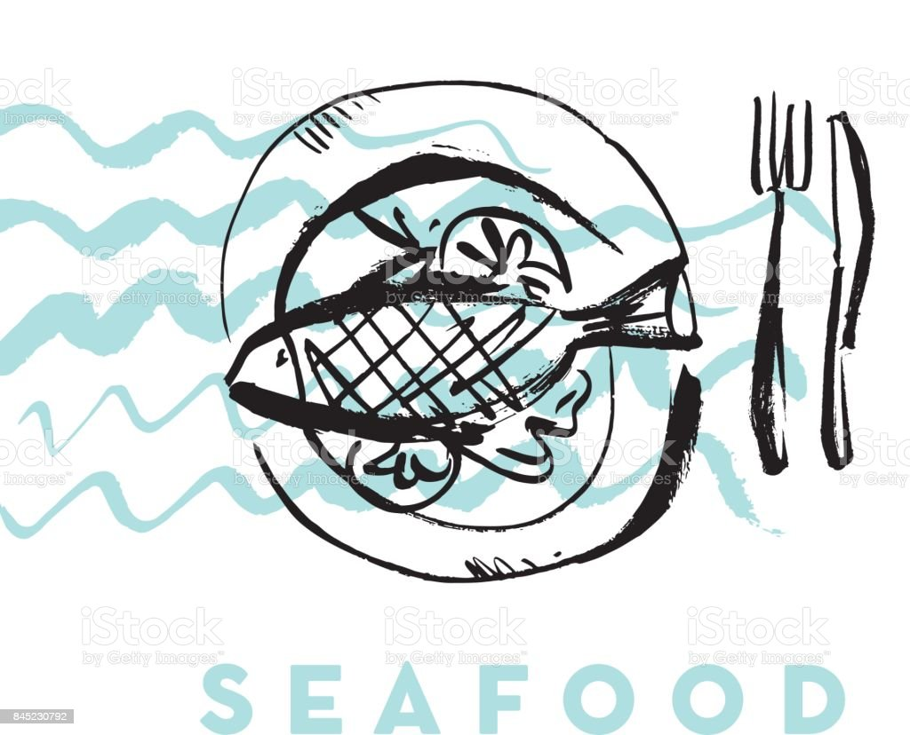 seafood fish and wave abstract hand drawn design elements for menu, poster, invitation. vector traced graphic illustration vector art illustration