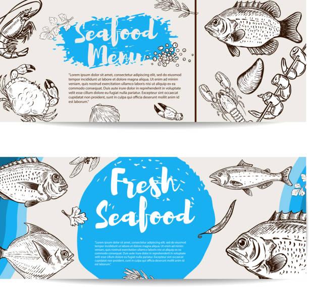ilustraciones, imágenes clip art, dibujos animados e iconos de stock de plantilla de volante de mariscos. pescado, camarones, ostras, langosta, cangrejo. - pescado y mariscos