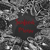 Seafood fresh menu template. Fish, crab, shrimp, lobster, spices. Vector illustration