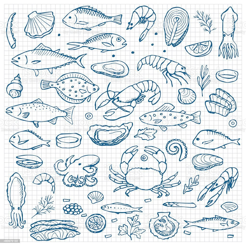 Seafood hand drawn doodle elements vector art illustration
