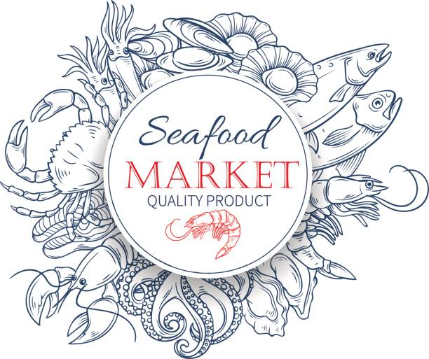 seafood hand drawn poster template - redfish stock illustrations, clip art, cartoons, & icons
