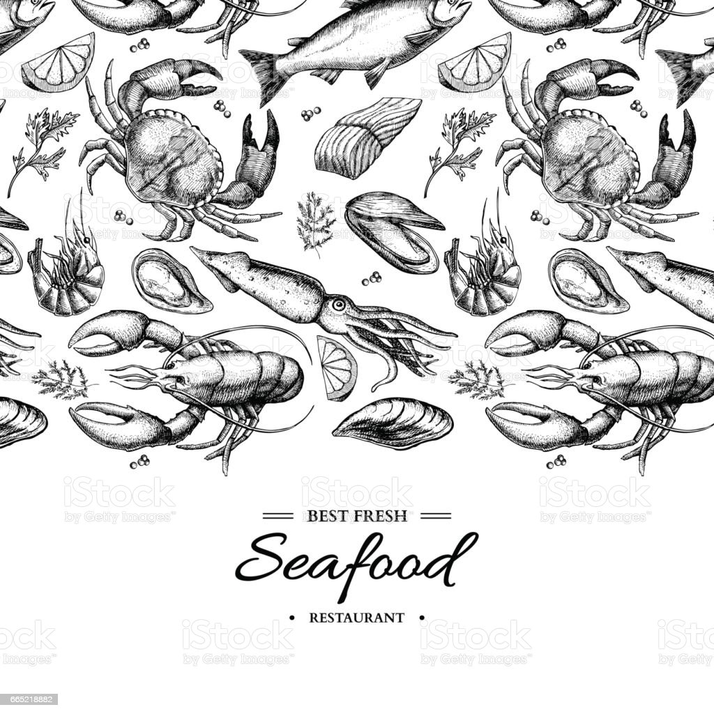 Seafood hand drawn vector framed illustration. Crab, lobster, shrimp, oyster, mussel, caviar and squid. vector art illustration