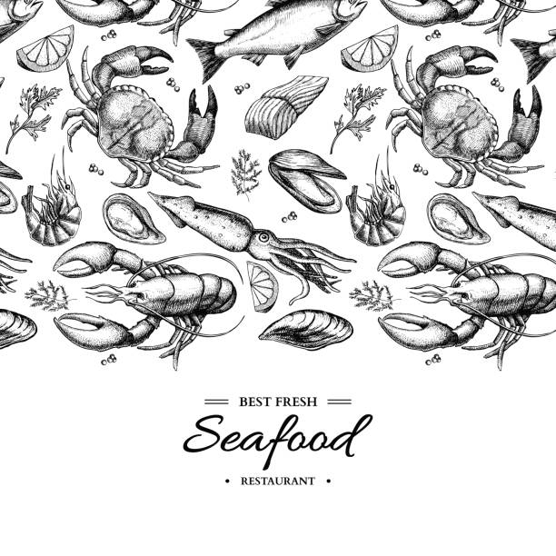Seafood hand drawn vector framed illustration. Crab, lobster, shrimp, oyster, mussel, caviar and squid. Seafood hand drawn vector illustration. Crab, lobster, shrimp, oyster, mussel, caviar and squid. Engraved style vintage template. Fish and sea food restaurant menu, flyer, card, business promote seafood stock illustrations