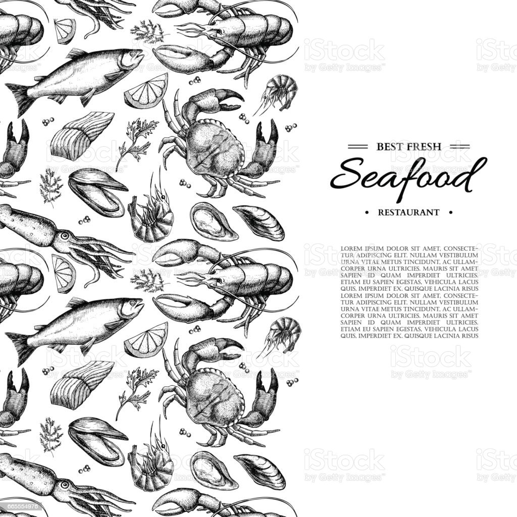 Seafood hand drawn vector illustration. Crab, lobster, shrimp, oyster, mussel, caviar vector art illustration