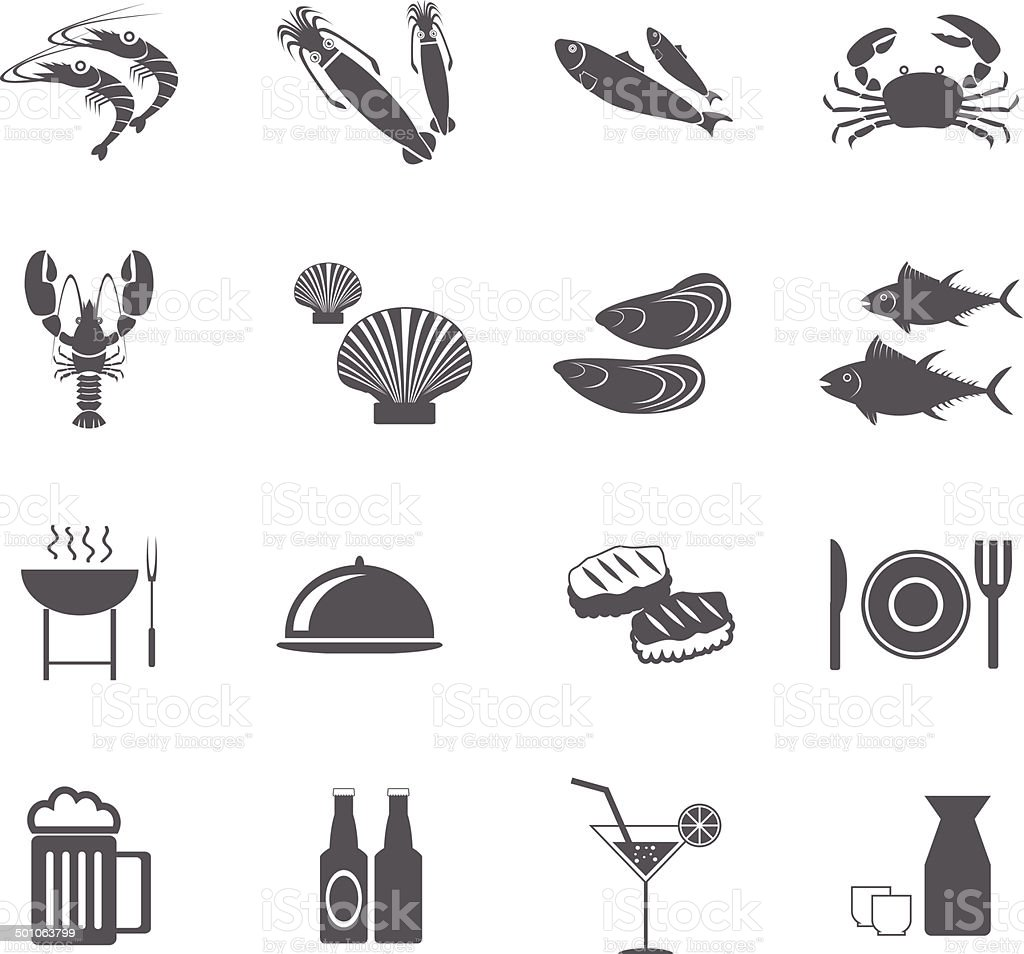 seafood icons, mono vector symbols. vector Illustration EPS10 vector art illustration