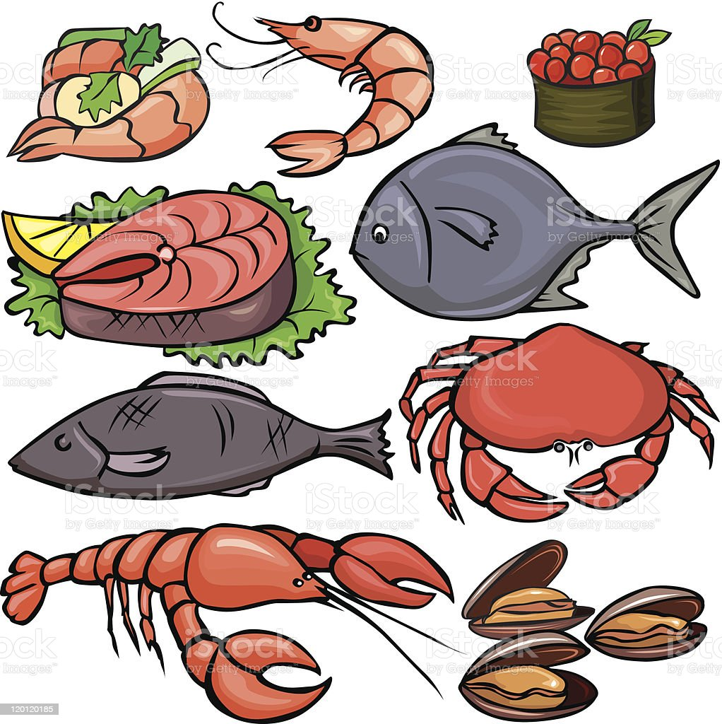 Seafood icons set royalty-free stock vector art