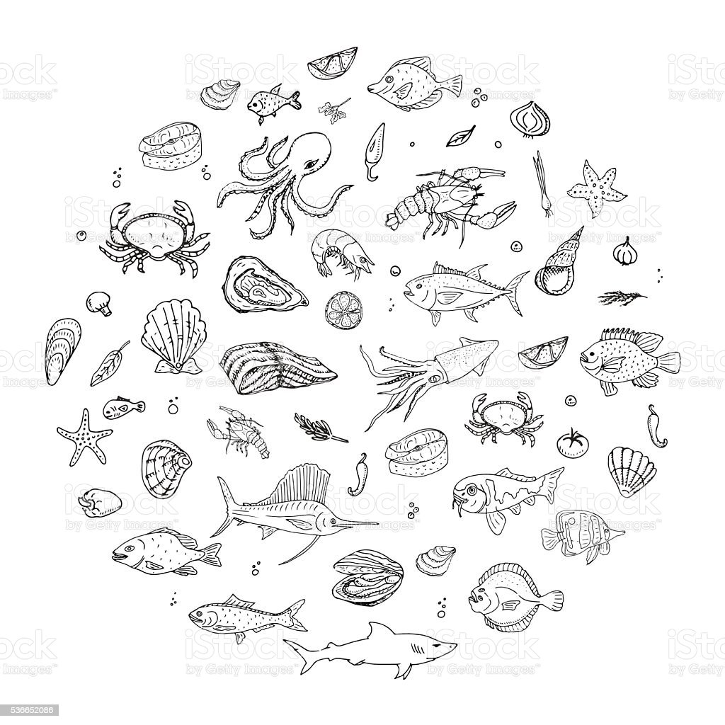 Seafood icons set vector art illustration