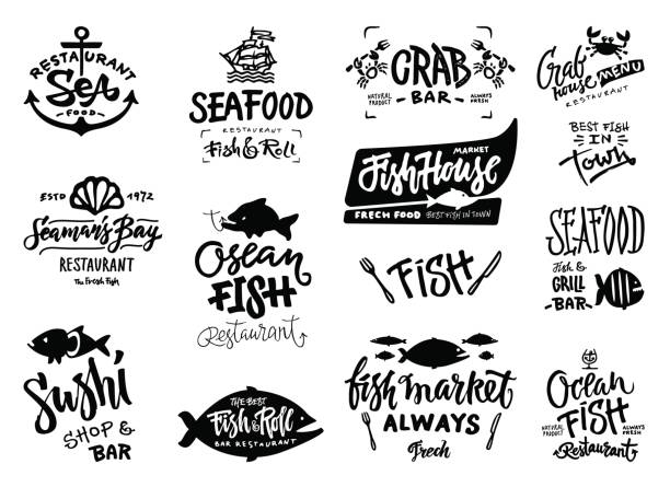 Seafood icons set Set of hand drawn watercolor labels and badges of seafood. Vector illustrations for graphic and web design, for restaurant, menu, fish market. seafood stock illustrations