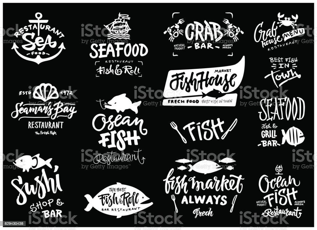 Conjunto de ícones de frutos do mar - ilustração de arte em vetor