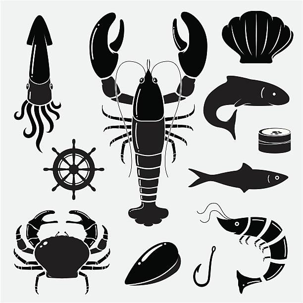 stockillustraties, clipart, cartoons en iconen met seafood icons - schaaldier