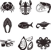 Seafood icons set. Black and white colors PNG files (3309x3272, 300 dpi) is also included.