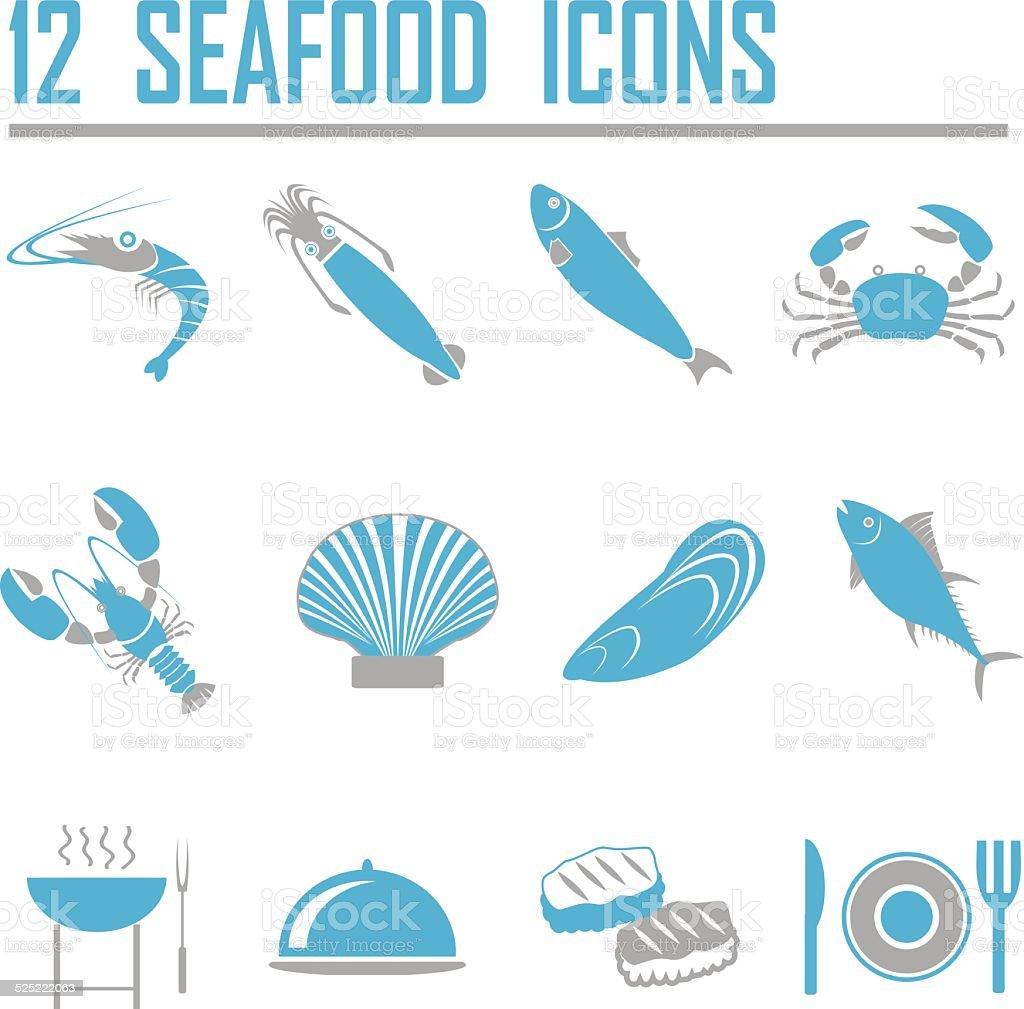 seafood icons. vector illustration EPS10 vector art illustration