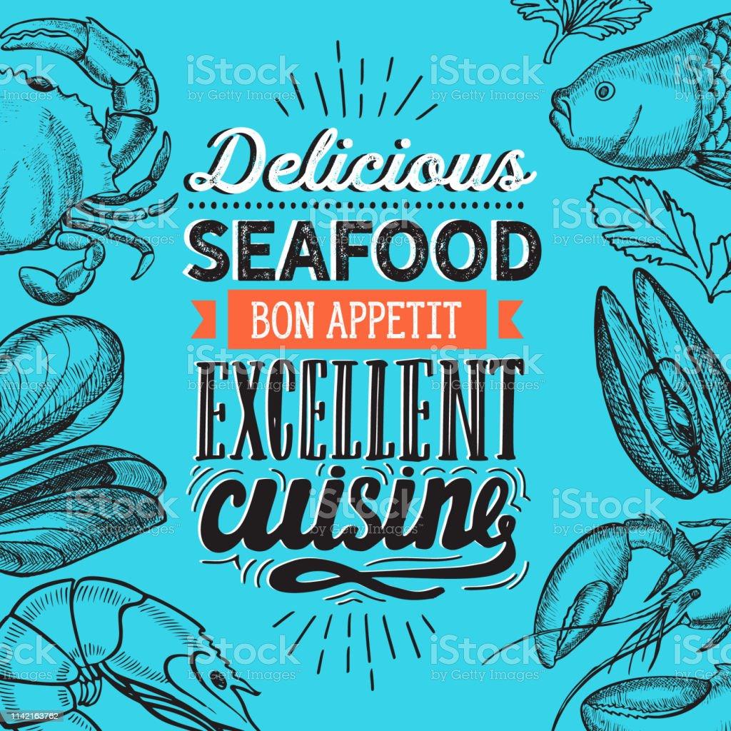 Seafood Illustration Fish Crab Lobster Shrimp Mussel For Restaurant Menu Vector Hand Drawn Poster For Food Cafe And Meal Truck Design With Lettering And Doodle Vintage Graphic Stock Illustration Download Image