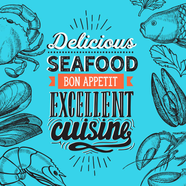 Seafood illustration - fish, crab, lobster, shrimp, mussel for restaurant menu. Vector hand drawn poster for food cafe and meal truck. Design with lettering and doodle vintage graphic. Seafood illustration - fish, crab, lobster, shrimp, mussel for restaurant seafood stock illustrations