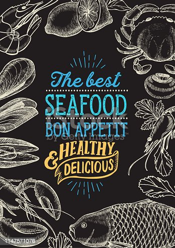 Seafood illustration - fish, crab, lobster, shrimp, mussel for restaurant