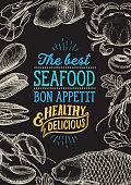 Seafood illustration - fish, crab, lobster, shrimp, mussel for restaurant