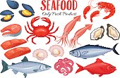 Seafood in cartoon style. Vector icons mussel, fish salmon, shrimp, squid, octopus, scallop, lobster, craps, mollusk, oyster, alfonsino and tuna.
