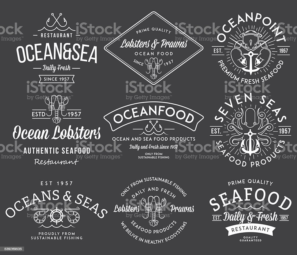 Seafood labels and badges vol. 3 white on black vector art illustration