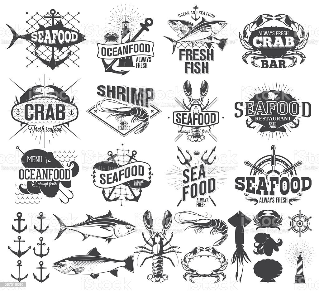 Seafood labels, logo and  illustration, design elements vector art illustration