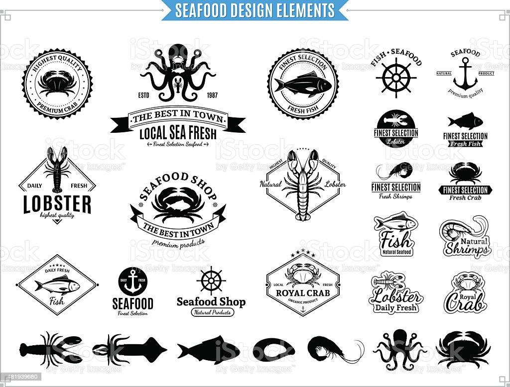 Seafood Labels, Sea Animals and Design Elements vector art illustration