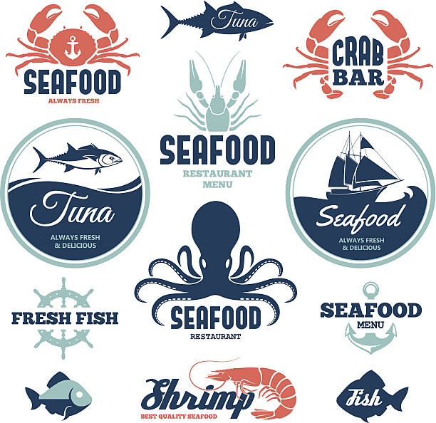 Seafood labels Vector set of seafood labels and signs seafood stock illustrations
