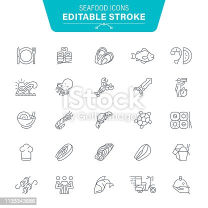 Fish, Sea, Food, Meat, Animal,  Editable Stroke Icon Set