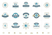 Seafood logos or signs set vector illustration fish market and restaurant emblems templates design, salmon and tuna silhouettes. Vintage typography badges design.