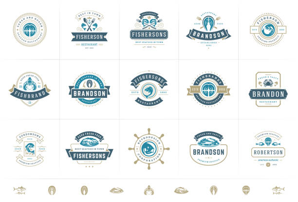 Seafood logos or signs set vector illustration fish market and restaurant emblems templates design Seafood logos or signs set vector illustration fish market and restaurant emblems templates design, salmon and tuna silhouettes. Vintage typography badges design. seafood stock illustrations