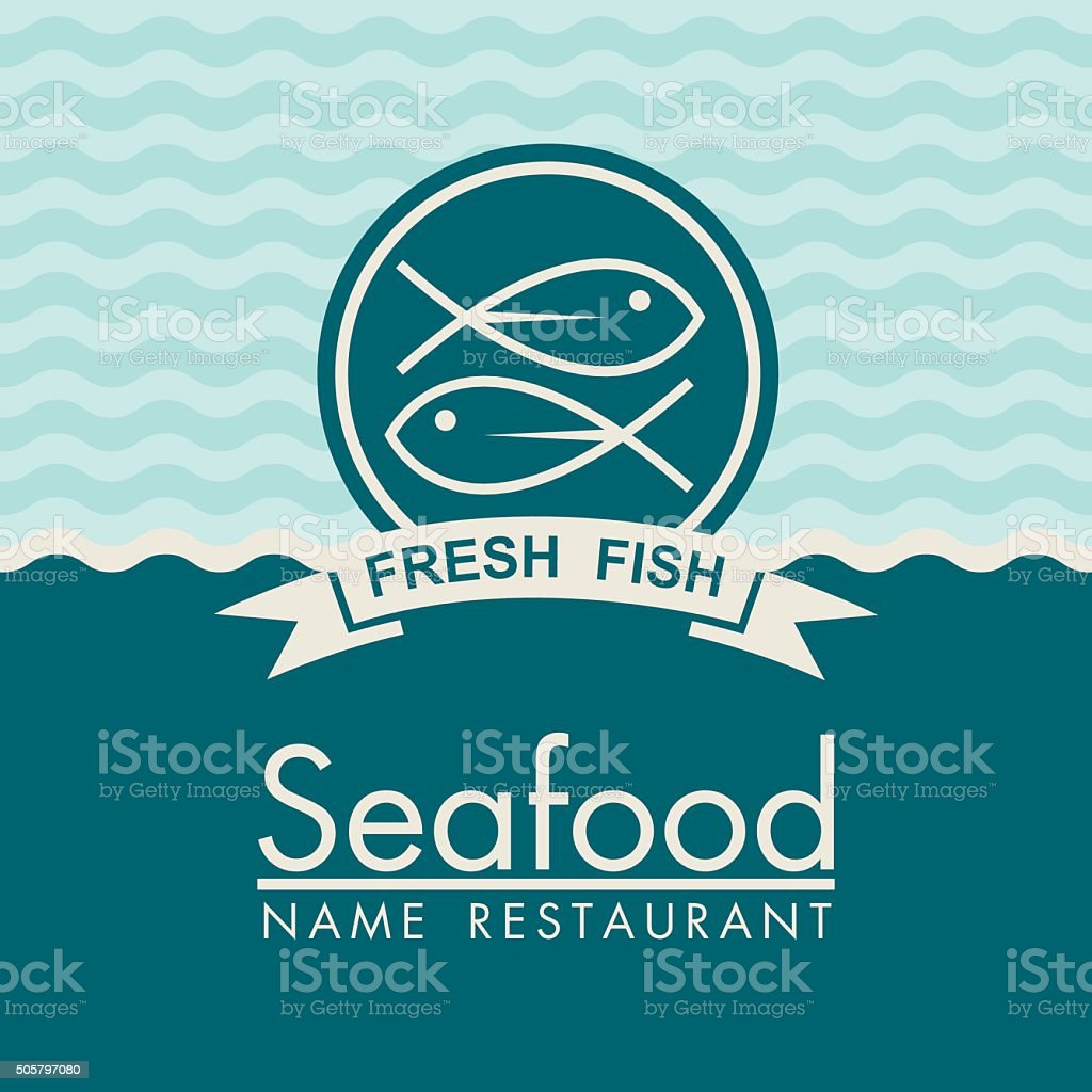 seafood menu design vector art illustration