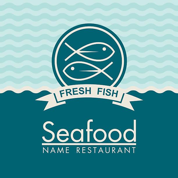 ilustraciones, imágenes clip art, dibujos animados e iconos de stock de diseño de menú de pescados y mariscos - pescado y mariscos