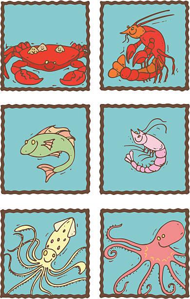 ilustrações de stock, clip art, desenhos animados e ícones de ícones de menu de frutos do mar. - lapa