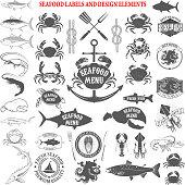 seafood menu labels set. Design elements for label, emblem, sign, brand mark, restaurant menu, poster. Vector illustration.