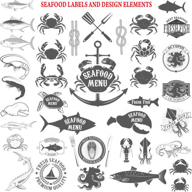 seafood menu labels set. Design elements for label, emblem vector art illustration