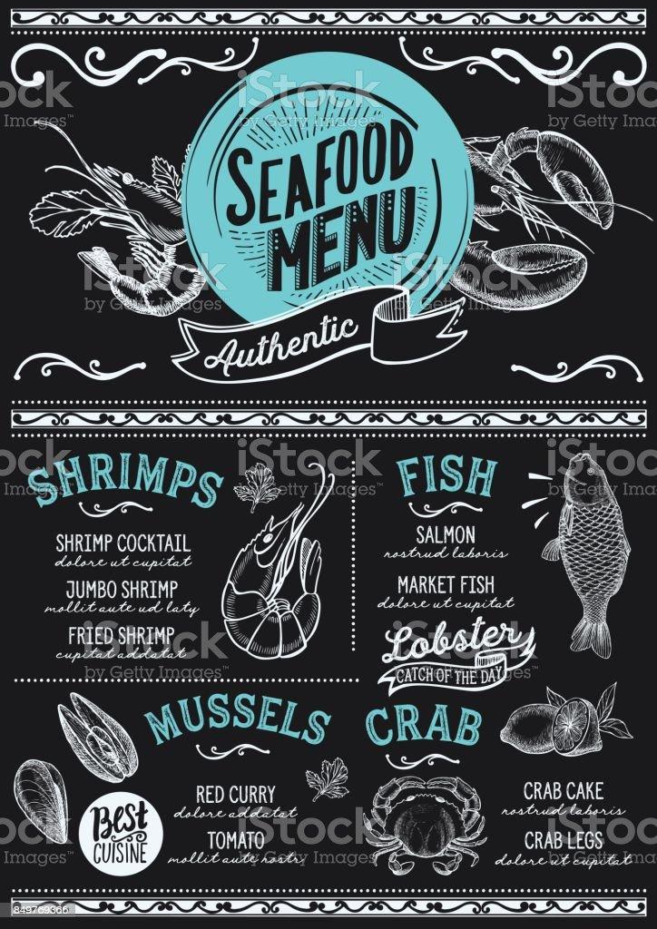Seafood menu restaurant, food template. vector art illustration