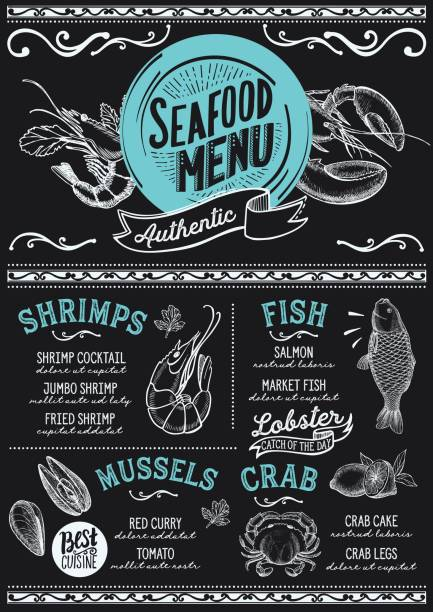 Seafood menu restaurant, food template. Seafood menu for restaurant and cafe. Design template with hand-drawn graphic illustrations. seafood stock illustrations