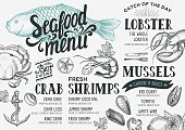 Seafood menu for restaurant and cafe. Design template with hand-drawn graphic elements in doodle style.