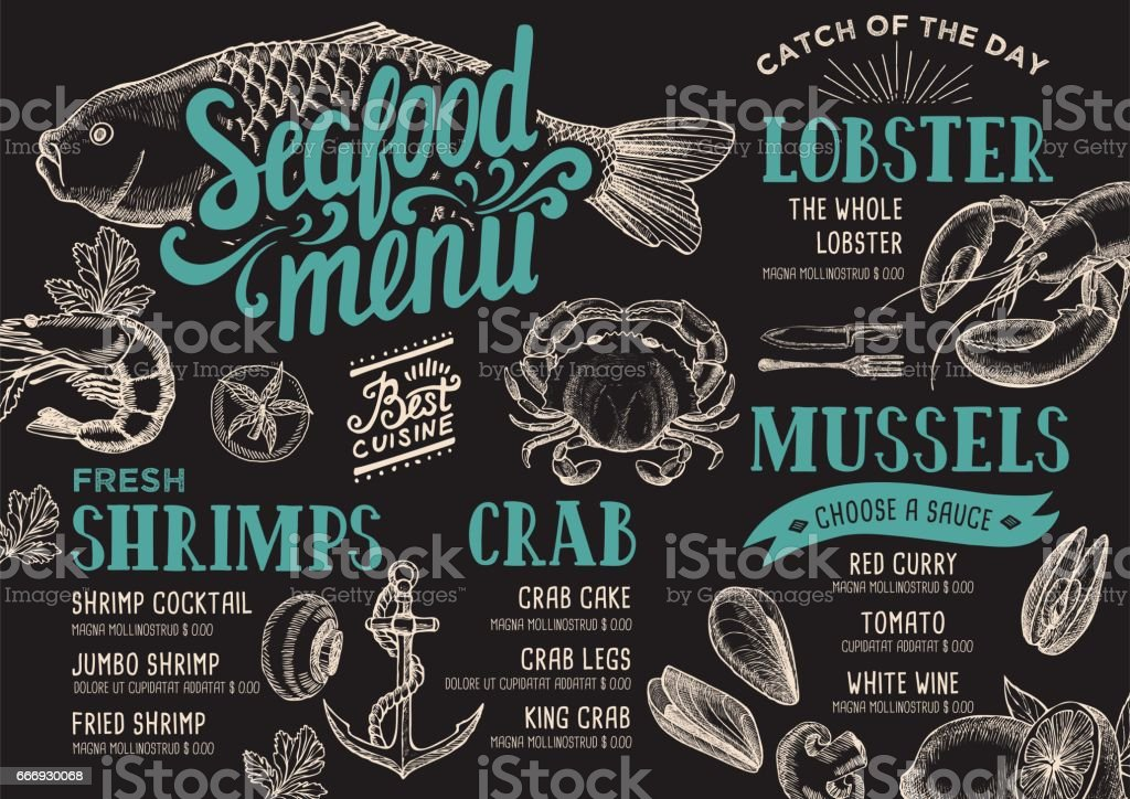 Restaurant de fruits de mer de menu. - Illustration vectorielle