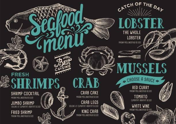 ilustraciones, imágenes clip art, dibujos animados e iconos de stock de restaurante de menú de mariscos. - pescado y mariscos