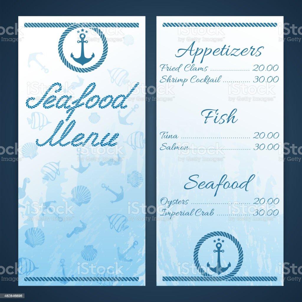 Seafood menu template vector art illustration
