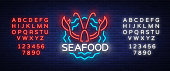 Seafood neon logo icon vector illustration. Lobster emblem, neon advertisement, night sign for restaurant, cafe, bar with seafood. Glowing banner, a template for your projects. Editing text neon sign.